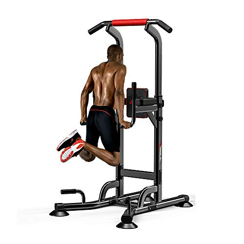 Pull Up & Dip Stand Power Tower,Home Gym Height Adjustable Multi-Function Fitness Strength Training Equipment Exercise Workout Station