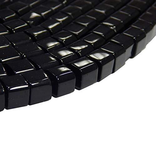 Onyx Halbedelstein Strang Schwarz Perlen Poliert und Matt Set Halbedelstein Strang 4/6/8/10 mm Perlenstrang Perlenkette (4mm x 4mm Würfel Poliert)