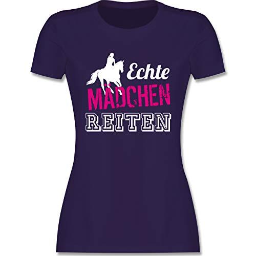 Reitsport - Echte Mädchen reiten - XL - Lila - Reitsport Tshirt - L191 - Tailliertes Tshirt für Damen und Frauen T-Shirt