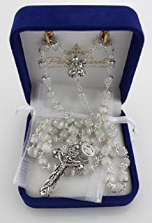 8mm White Cat's Eye Double Capped Bead Deluxe Rosary (designed by Paola Carola) with Miraculous Medal dangle and White Organza Bag in Deluxe Rosary Gift Box