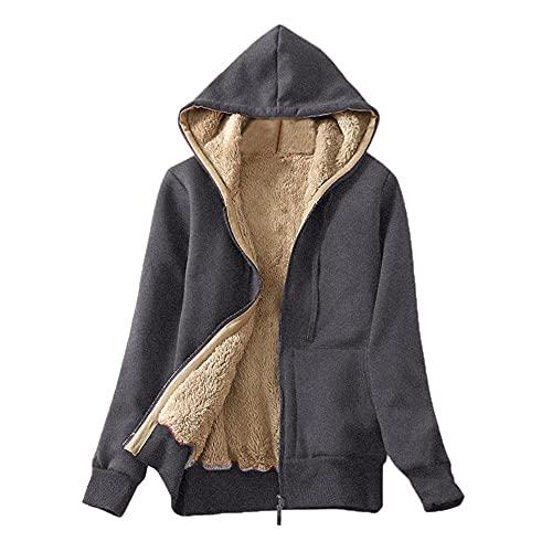 Chejarity Sudadera con capucha para mujer, de felpa, unisex, con forro de felpa, con cremallera, para otoño e invierno, b, S