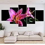 Wuyyii 5パネルHdプリントピンクファイヤーユリの花壁ポスター印刷キャンバスアート絵画用ホームリビングルーム装飾-30X40Cmx2/30X60Cmx2/30X80Cmx1