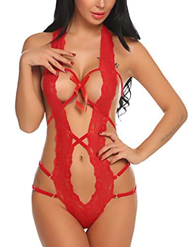 Avidlove Women Deep V Halter Lingerie Teddy One Piece Bodysuit Lace Babydoll (S, Red)