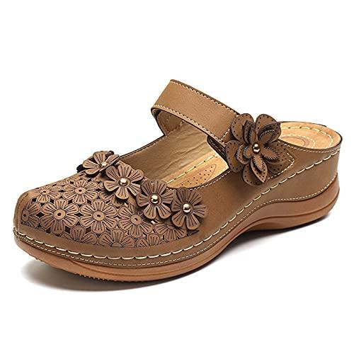 Womens Zapatillas Sandalias Zuecos Verano Hole Zapatos Retro Inferior cómodo Casual Deslizamiento Suave de Cabeza Redonda Plana en Holgazanes,Marrón,36
