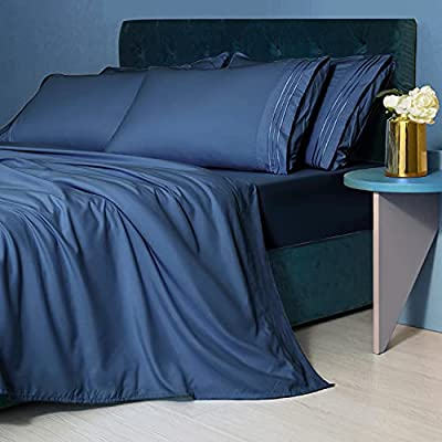 LIANLAM King Size Sheet Set - 6 Piece Bed Sheets - Super Soft Brushed Microfiber 1800 Thread Count - Breathable Luxury Sheets Deep Pocket - Wrinkle Free (Navy Blue, King)