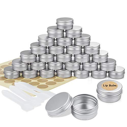30 Piezas Tarros de Aluminio vacío Recipiente de cosmética para Crema loción máscaras Mini Velas cosméticos Arte de uñas (20 ml)