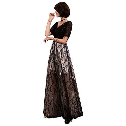 Robe de mariée élégante Noire col V Manches mi-Longues Robe de soirée pailletée Jupe Longue Ailin Home (Couleur : Noir, Taille : XXL)