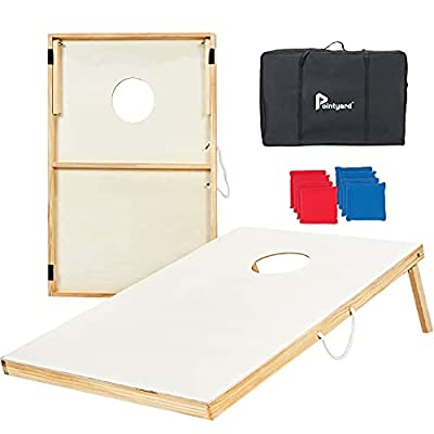 Pointyard Wooden Cornhole Set, 3x2Ft Classic Cornhole Outdoor Games Set with 8 All-Weather Cornhole Bean Bags and Carrying Case - Portable Backyard Cornhole Board Game for Kids Adults Family