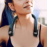 Portable Neck Fan, Upgraded Version Rechargeable Hands Free Bladeless Fan, 360? Free Rotation, and Lower Noise Strong Airflow Headphone Design for Sport, Office, Home, Outdoor, Travel, etc.
