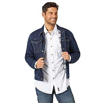 Wrangler mens Western Style Lined Denim Jacket Faded Indigo Blanket Medium US