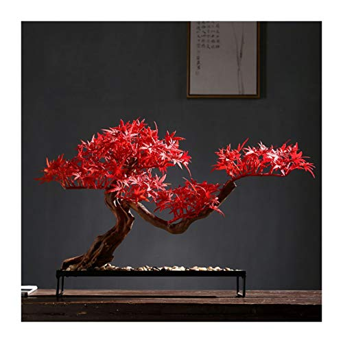 kerryshop Simulation Tree Red Artificial Maple Tree Potted Plants Indoor Fake Plants Artificial Zen Bonsai Tree Desktop Decoration, Size: 19.7 X 13.8x 9.8 Inch Artificial tree