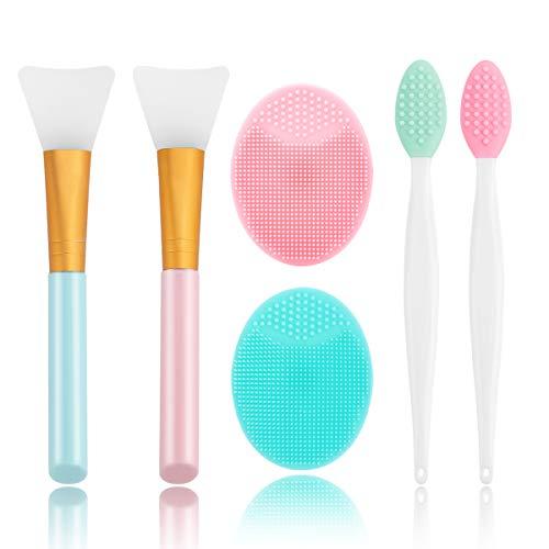 Silicone Face Scrubber, 2pcs Exfoliating Lip Brush, 2pcs Face Cleansing Brush,2pcs Silicone Face Mask Brush Exfoliator Blackhead Skin Care Tool