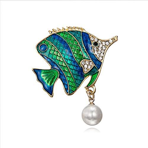 BLINGBRY zwemmen vis broche blauw groen emaille tropische vissen broche pinnen mannen pak corsage voor vrouwen meisjes hemdkraag jurk broche