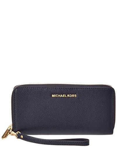 Michael Michael Kors Womens Bedford Travel Continentaal lederen portemonnee, blauw