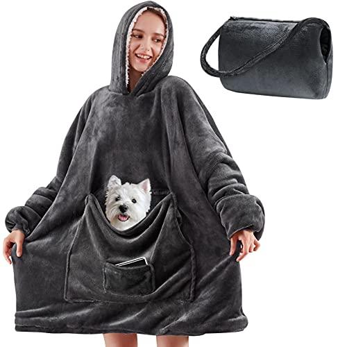 Yescool Wearable Blanket Hoodie, Oversized Sherpa Hooded Blanket Sweatshirt, Giant Warm Fuzzy Fleece...