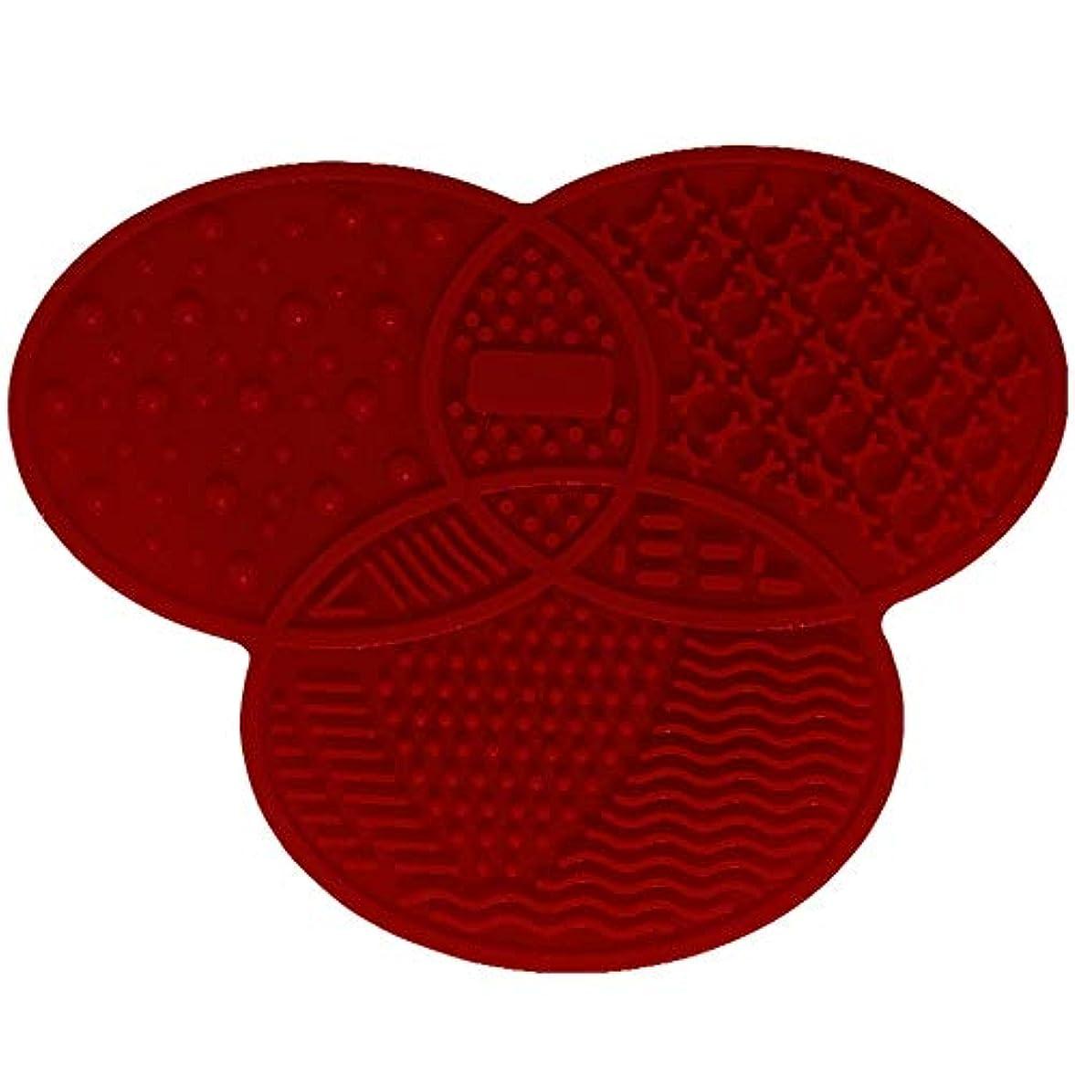 兵器庫迅速オリエントシリコンブラシクリーナー化粧品メイクアップウォッシュブラシジェルクリーニングマットファンデーションメイクブラシクリーナーパッドスクラブボード - レッド