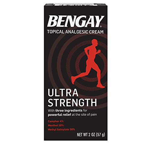 Ultra Strength Bengay Topical Pain Relief Cream, Non-Greasy Topical Analgesic for Minor Arthritis, Muscle, Joint, and Back Pain, Camphor, Menthol & Methyl Salicylate, 2 oz