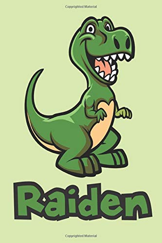Raiden: Cute Dinosaur T-Rex Boys Name Dino Dinos Raiden, Lined Journal Notebook, 100 Pages, 6x9, Soft Cover, Matte Finish, Back To School, Preschool, Kindergarten, Kids