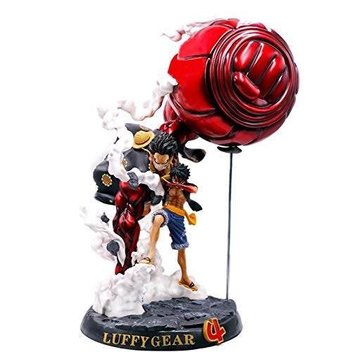 WCCCY One Pieces Monkey D Luffy Anime Action Figura Modelo 52cm Gear 4 Battle Scene Statue Colección Juguete