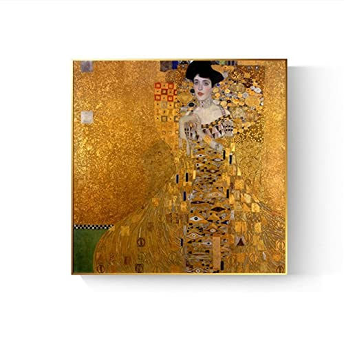 Réplica de pinturas de beso de Gustav Klimt en la pared retrato de Adele Bloch Golden Classical HD Print Canvas Pictures