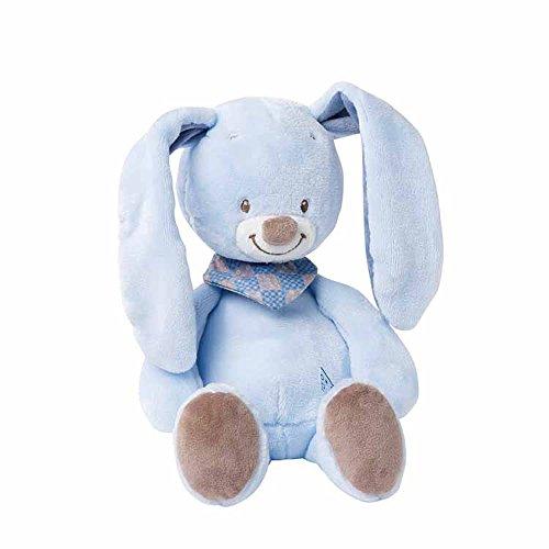 Nattou Kuscheltier Hase Bibou, Wegbegleiter ab der Geburt, Höhe: 24 cm, Alex und Bibou, Blau