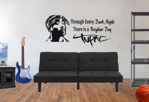 ASFGA Tupac Shakur Wandtattoos Musikdekoration Hip Hop dekorative Abziehbilder Musikabziehbilder Rap Musikabziehbilder Schwarze Geschichte 42 * 87cm