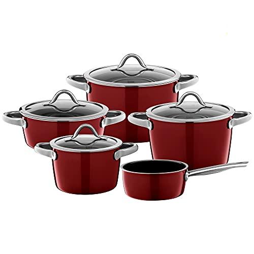 Silit Vitaliano Rosso Batterie de cuisine 5 pièces pour induction avec couvercle en verre et céramique fonctionnelle Silargan sans nickel Rouge foncé