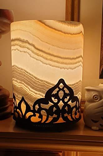 Lampada in pietra naturale egiziana fatta a mano in alabastro (onice) con base in rame anticato inclusa una lampadina