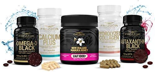 FREZZOR Immune Boosting Supplements SUPERPACK, Omega-3 Black, Manuka Honey UAF1000+, Hydrolyzed Collagen, Astaxanthin, Calcium, Made in New Zealand by FREZZOR
