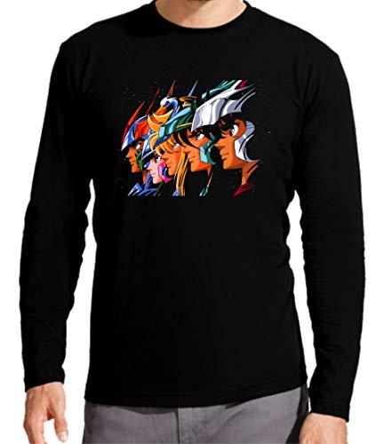 Camiseta Manga Larga de Hombre Caballeros del Zodiaco Pegaso Dragon Sain Seyia Fenix 001 L