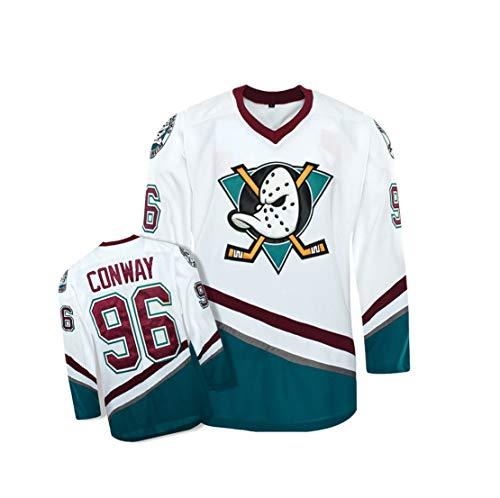 Carrey Mighty Ducks Eishockeytrikot M-XXXL,Hip Hop-Kleidung für Party,Buchstaben und Zahlen Sweatshirt