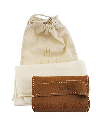 Saphir Polierhandschuh aus Leder mit Lammfell mit Poliertuch und Baumwollbeutel Ökotex-Standard100