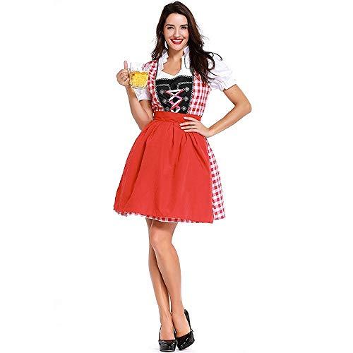 Uteruik - Disfraz de Oktoberfest para mujer, vestido de tirolesa para fiesta de la cerveza alemana Festival L (#B)