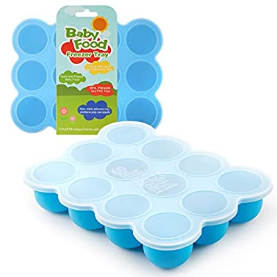 Samuelworld Baby Food Storage Container, 12 Portions Freezer Tray with Lid, 12x2.5oz BPA Free, Silicone, Perfect for Homemade Baby Food, Vegetable & Fruit Purees and Breast Milk