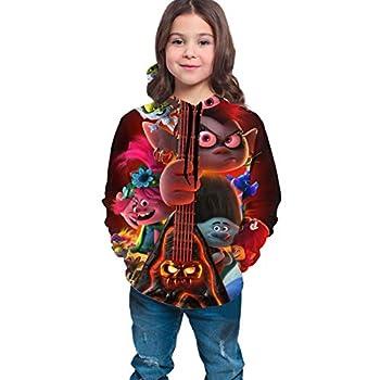 NEDRODAPPHIRE Trolls World Tour Teen Hoodies Fashion Sweatshirts Jacket Comfortable Boy and Girl Teens Black L 14-16  Years