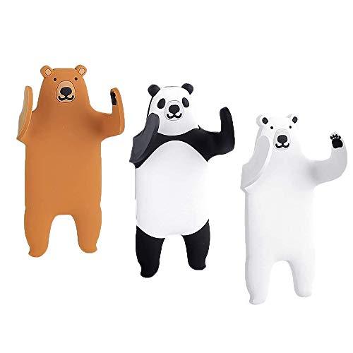 Ulinek Klebehaken ohne Bohren Handtuchhaken Kinder Selbstklebend, 1000 Mal Wiederverwertbar Handtuchhalter, schnelle Installation Panda Haken, Max 500G -3 Stück