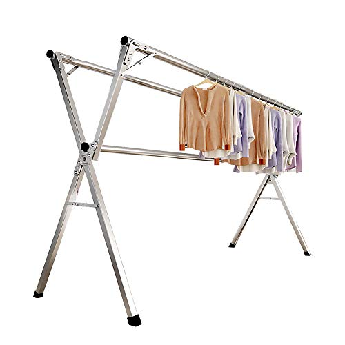 AIODE Clothes Drying Rack for Laundry Foldable Free of Installation Adjustable Stainless Steel Garment Rack