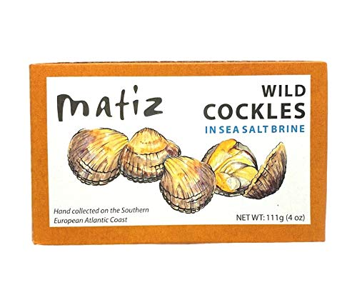 Matiz España Wild Cockles from Galicia, Spain in Natural Sea Salt Brine (4 oz.) Spanish Berberechos, Small Clams, Hand Packed, Size 45/55 (Pack of 3)