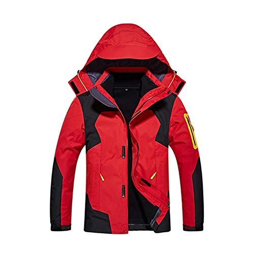 JIANYE Chaqueta 3 en 1 Hombre Chaqueta Softshell Mujer Chaquetas Impermeables Transpirables Chaqueta de Montaña Rojo 3XL