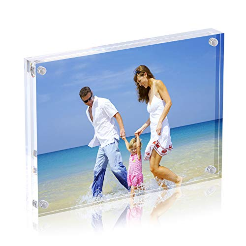 AMEITECH Magneticsche, ACRYI Foto-Bilderrahmen,Haelt 13X18 cm Fotos, 10mm+10mm Dicker Transparent und Rahmenlos -Transparent