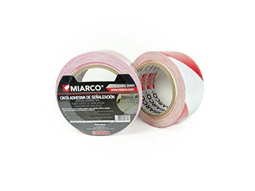 miarco 4611 460B55-Cinta Señal Adhesivo Blanca/Roja 50M, 50MM X 33M