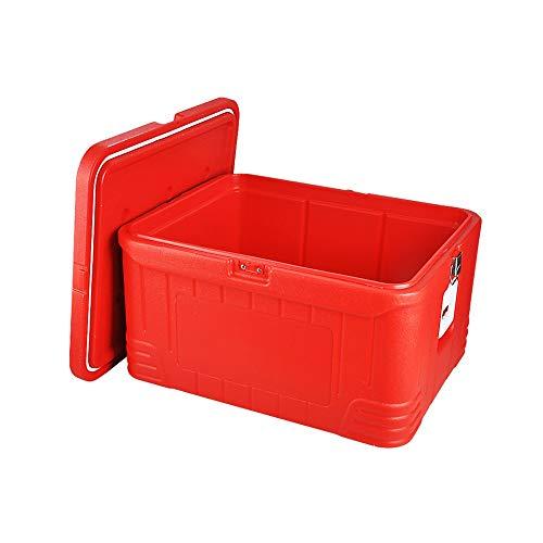 HWBXX Portable Safe, Haushalt Lebensmittel Gefrierschrank, Gewerbe Non-Zip Starre Isolierbox, Essen zum Mitnehmen Lieferung Kühlschrank (rot, 92L)
