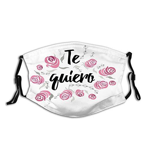 Te Quiero Typography with Rose Flower Wreath Romantic Love Valentines Concept,WiederverwendbareBaumwolleGesichtAntiStaubGesichtMundAbdeckung