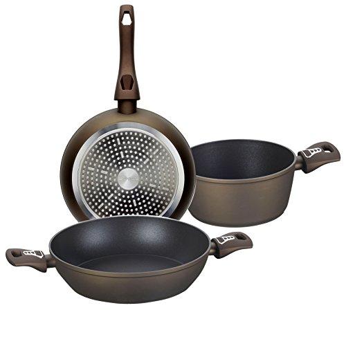 Tognana diamantea Set Pfanne Stielkasserolle und Bratpfanne, Aluminium, Bronze, 3Einheiten
