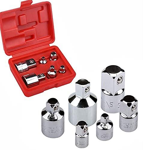 Drado Juego básico de adaptador y reductor de 6 piezas, llave de trinquete de 1/4 pulgada, 1/4 pulgada, 3/8 pulgada, 1/2 pulgada/Kit básico/Kit de conversión de extensión
