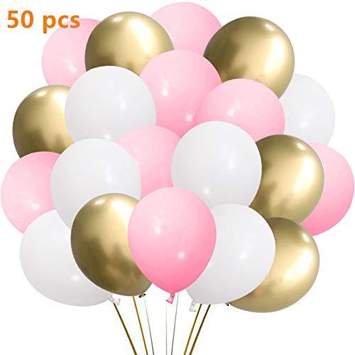 SKYIOL Helium Luftballon Rosa Pink Gold Weiß Latex Geburtstag Hochzeit Ballons als Party Feier Dekorationen für Kinder Mädchen Baby-Duschen Abschluss, 50 Stück 30 cm