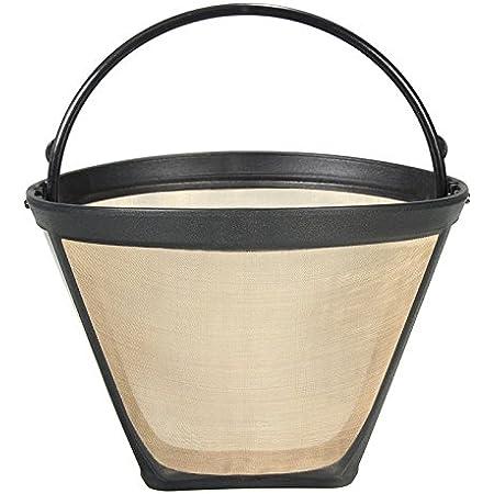 耐久性再利用可能なコーヒーフィルター10-12カップ永久コーン-スタイルコーヒーメーカーマシンフィルターゴールドメッシュでハンドルカフェコーヒーツール
