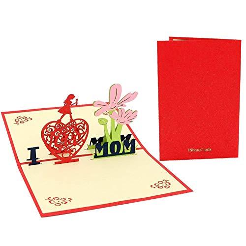mooderff 3D Moederdagkaart, pop-up kaarten knutselen liefdeskaart voor moeders leraren geliefde