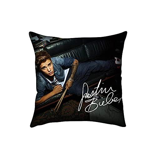 Red Justin Bieber Home Decorative Soft Throw Pillowcase Cushion Custom Pillow Case Cover Protecter with Zipper Fundas para Almohada 22x22Inch(55cmx55cm)