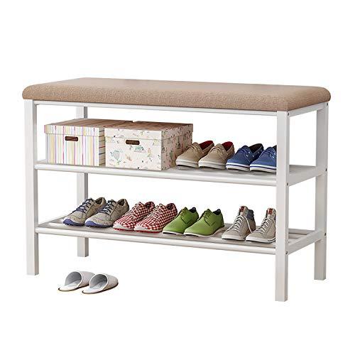 Plasaig - Zapatero con 2 estantes, banco, para pasillo, salón, para 6-8 pares de zapatos, zapatero para sentarse.